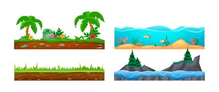Game landscape, gaming interface. Landscape for 2D games. Scenery with cactus, soil, sandy ground, lava vector Vettoriali