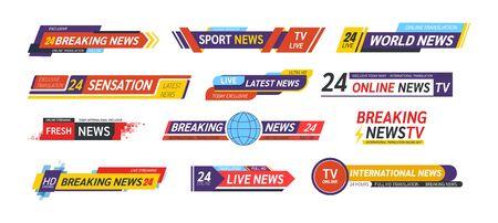 TV title news bar, news feeds, television, radio channels. Illustration