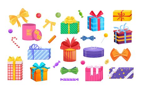 Gift box with tie bow. Present wrapped gift box differents shapes with ribbons, bows.