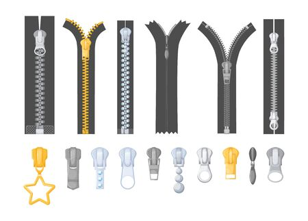 Metallic silver golden zipper with pulls. Realistic differents fastener with pullers for cloth, dress, pants