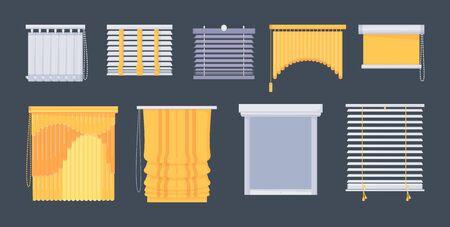 Window blinds horizontal vertical closed open set. Illustration