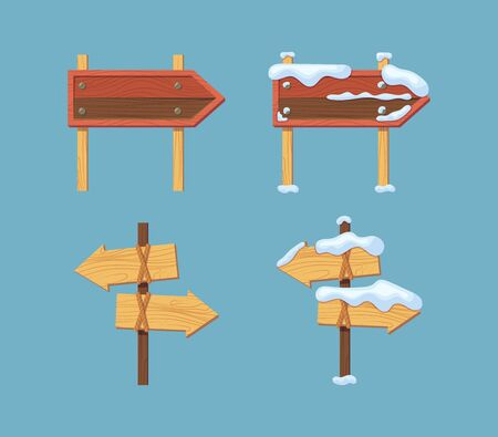 Wooden sign boards blank empty planks or signboards