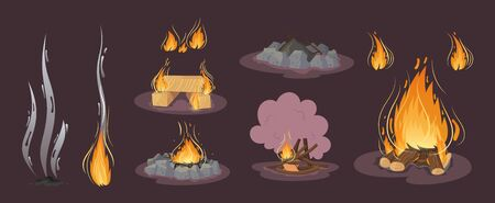 Firewood boards, bonfire of branches, logs, fire burning wooden logs