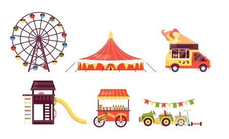 Amusement park on summer fair festival vector