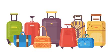 Plastic, metal suitcases, backpacks, bags for luggage. Travel suitcases with wheels, travel bag, cases, trip baggage