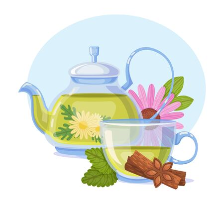 Herbal green tea a cup with chamomile, cinnamon and leaf melissa. Traditional health drink green tea