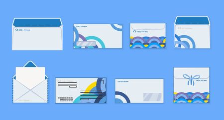 Corporate identity template white envelopes set. Blank mockups front back open closed transparent window in front.