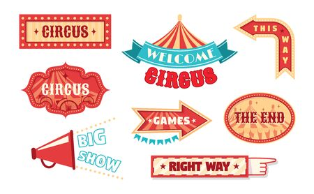 Circus vintage labels pointer and signboards.  template for carnival, event banner emblems for entertainment.