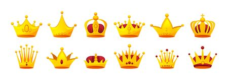 Set of different kinds of beautiful luxury gold crowns.