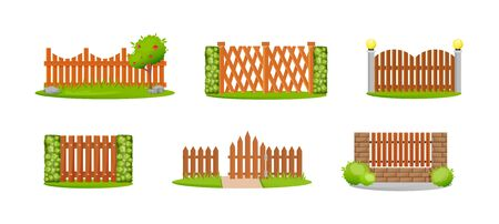 Wooden decorative fences set. Outdoor wooden fence architecture elements. Home protection, boundary for country house Ilustración de vector