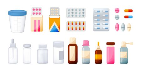 Pharmacy pharmaceutical set of empty, transparent 3D packaging for medicines.