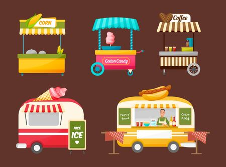 Street van, trading, fast machine transport products food, shop truck with stall. Canopy on wheels, fast food assortment and tasty eating, streets eat, coffee, drinks. Street food market vector Vettoriali