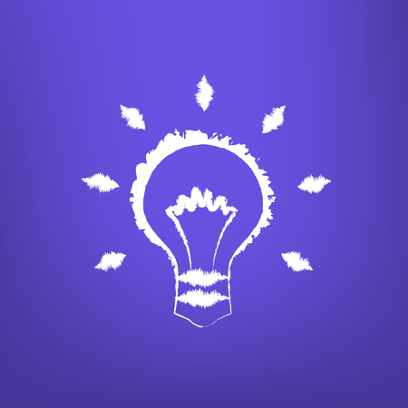 isoated: Abstract Draw Light Bulb isoated on blue-violet background.