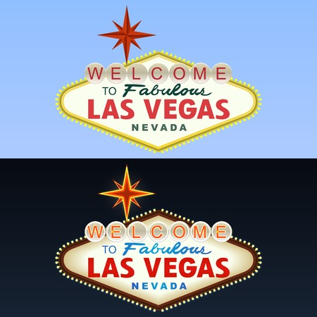 Las Vegas Sign. Day and Night. Stock Photo