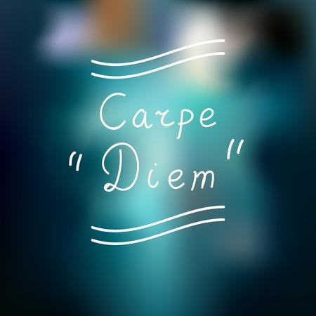 Typographic design. Carpe Diem. Defocused background. photo