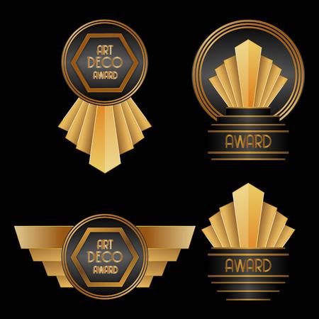 awards ceremony: set of Art Deco Awards vector illustration
