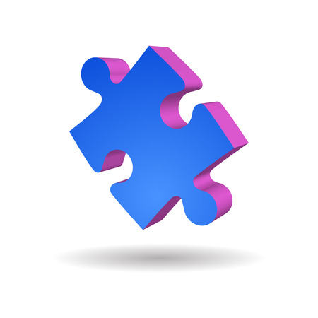 jigsaw piece: One blue Puzzle Piece isolated vector illustration Illustration