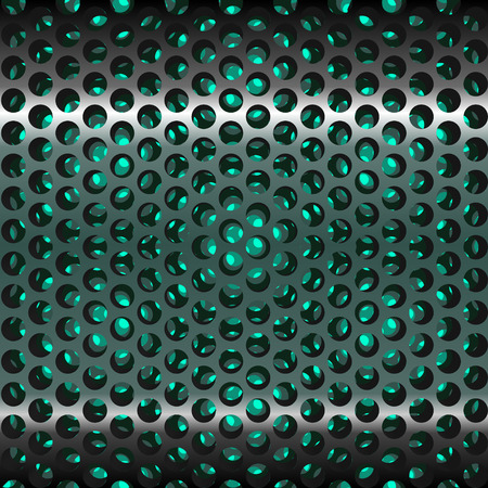 metal grate: Mesh metal grate as background. Dots and circles. Grill. Vector