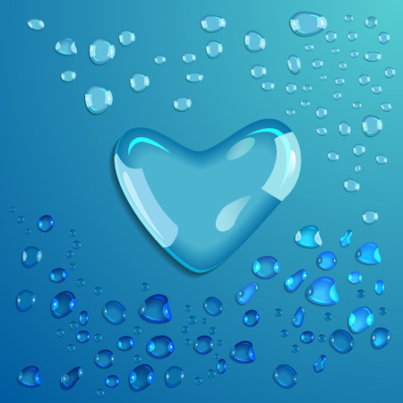 Waterdrop on blue background. Heart. Valentine. Vector illustration Vector