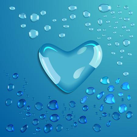 waterdrop: Waterdrop on blue background. Heart. Valentine. Vector illustration Illustration