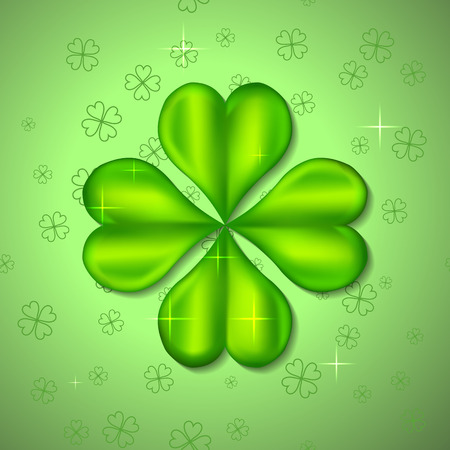 Green Four-Leaf Clover. Patrick day.  Vector