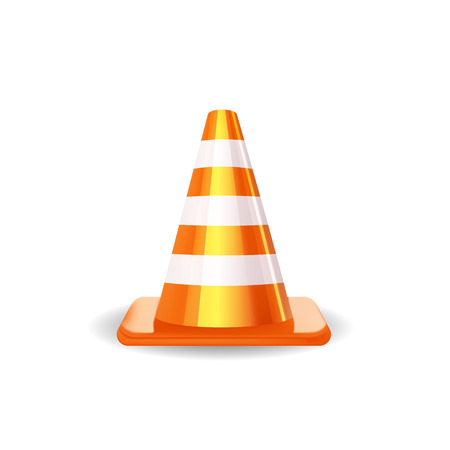 Traffic Cone isolated on white.  Illustration