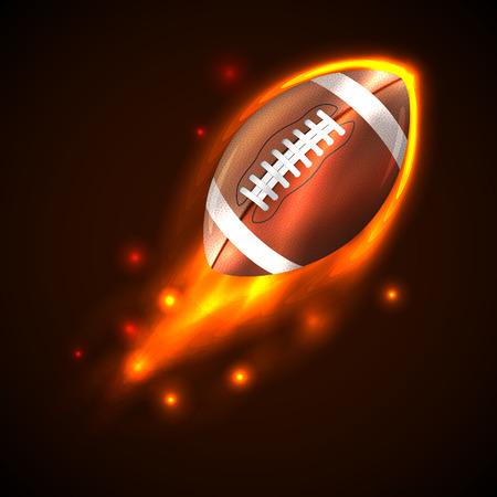American Football Ball on Fire Vector