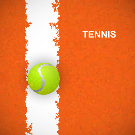 Tennis ball on orange court. Vector illustration Çizim