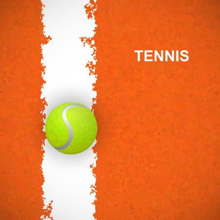 Tennisbal op oranje rechtbank. Vector illustratie