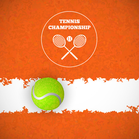 green banner: Tennis ball on orange court. Vector illustration Illustration