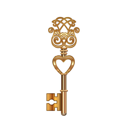 Golden Key with Heart isolated. Vector illustration Vector