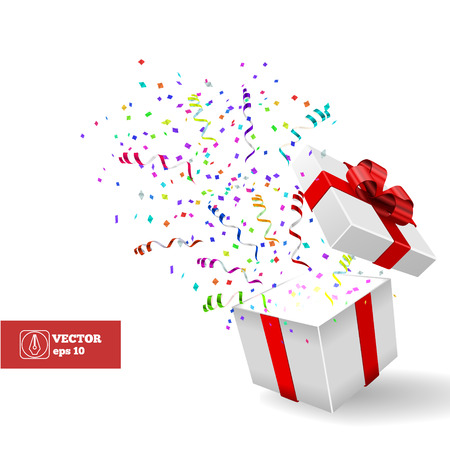 Open Gift and Confetti. Christmas Vector Background
