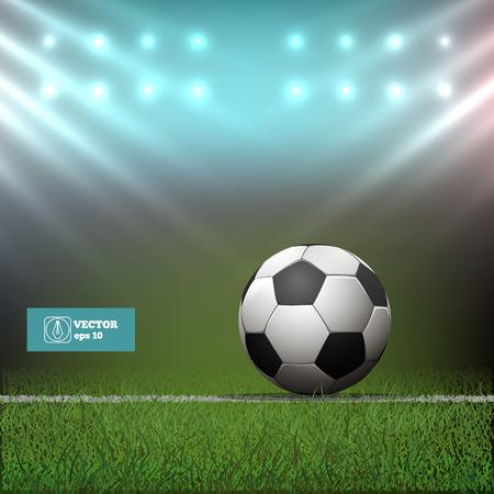 cancha de futbol: Bal�n de f�tbol en el estadio en el c�sped. Ilustraci�n vectorial Vectores