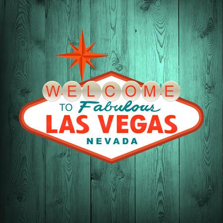 vegas strip: Las Vegas Sign on wood. Vector illustration Illustration