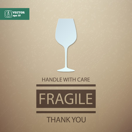 handle with care: Fragile. Handle with Care. Wineglass.