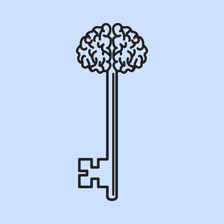 Abstract Key with Handle like Brain. Vector illustration