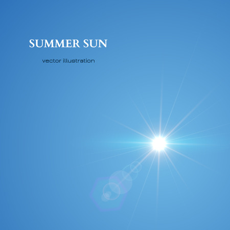 sun blue sky: Summer Sun. Blue Sky Background. Vector illustration Illustration