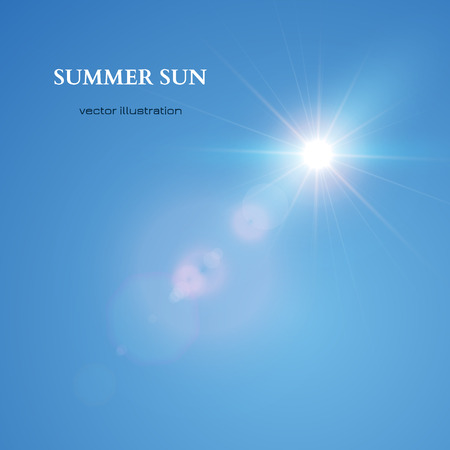 Summer Sun. Blue Sky Achtergrond. Vector illustratie Stock Illustratie