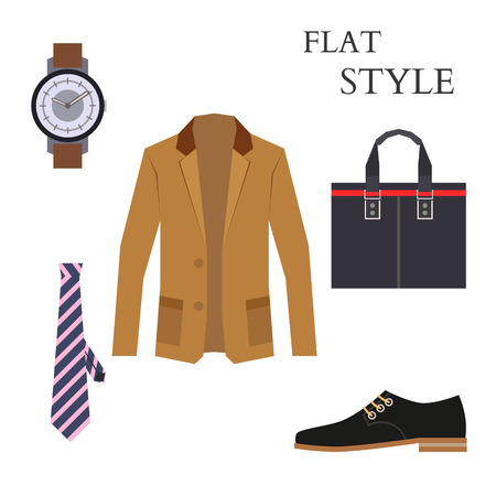 men's shoes: Mens Wear Look Fashion. Flat Style. Vector illustration Illustration