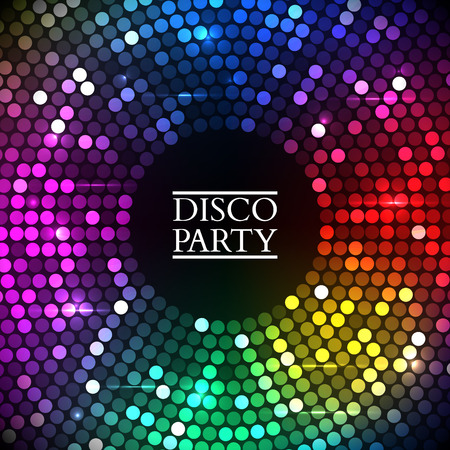 Abstract Colorful disco lights round. Vector illustration Vettoriali