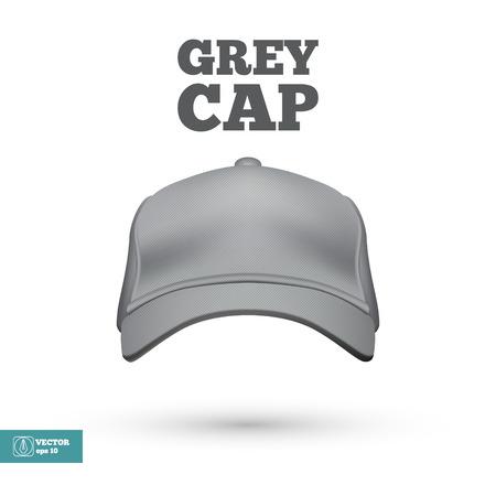 baseball cap: Grey Cap isolated on white. Vector illustration Illustration
