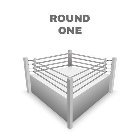 defeated: Boxing Ring Isolated on white. Vector illustration Illustration