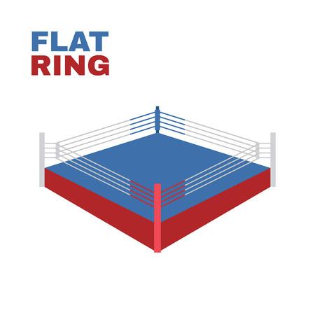 vaincu: Ring de boxe isol� sur blanc. Vector illustration