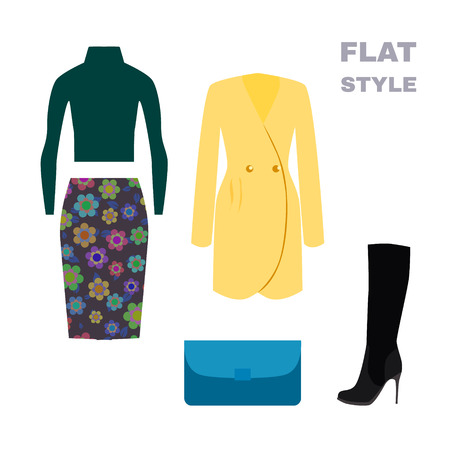 spring coat: Flat Style. Womans Look. Fashion wear. Vector illustration
