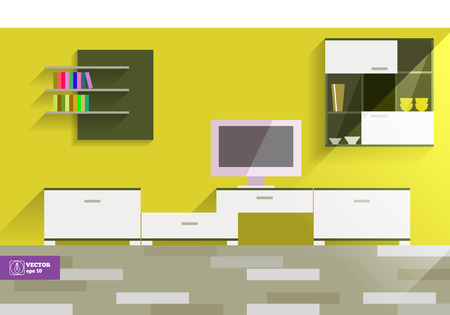 interior desing: Abstract Flat Style Interior Desing. Vector illustration Illustration