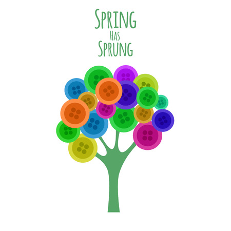 sprung: Abctract buttons tree. Spring has sprung. Vector illustration