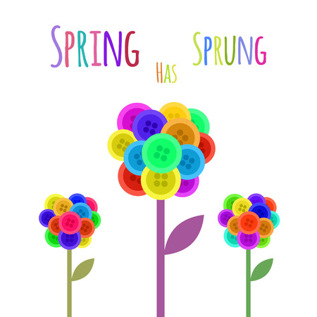 sprung: Abctract buttons flower. Spring has sprung. Vector illustration Illustration
