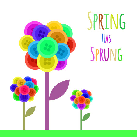 has: Abctract buttons flower. Spring has sprung. Vector illustration Illustration
