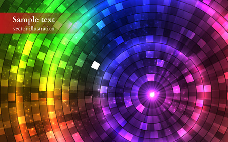Abstract Colorful Disco Lights. Tunnel. Vector illustration Ilustração