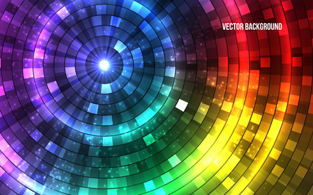 Abstract Colorful Disco Lights. Tunnel. Vector illustration Çizim